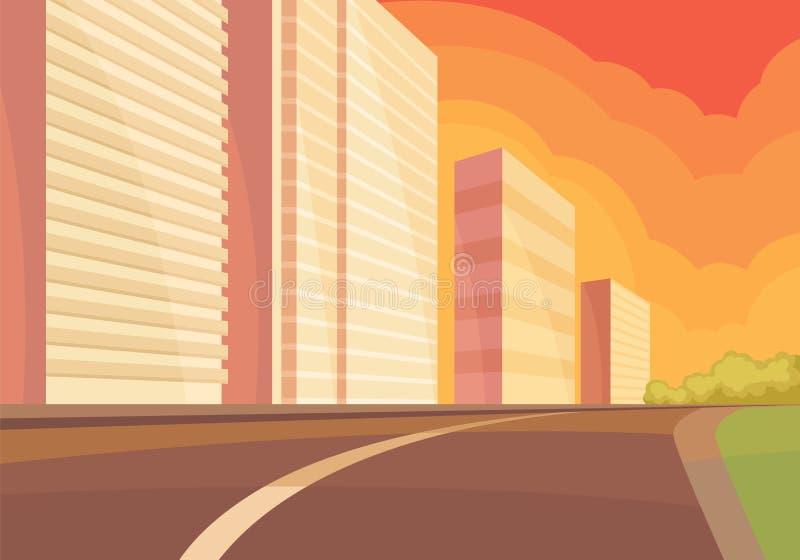 Widok na miasto ulicie przy zmierzchem z drogą, wieżowem i zieleń krzakami, miejski krajobrazu Płaski wektorowy projekt ilustracji
