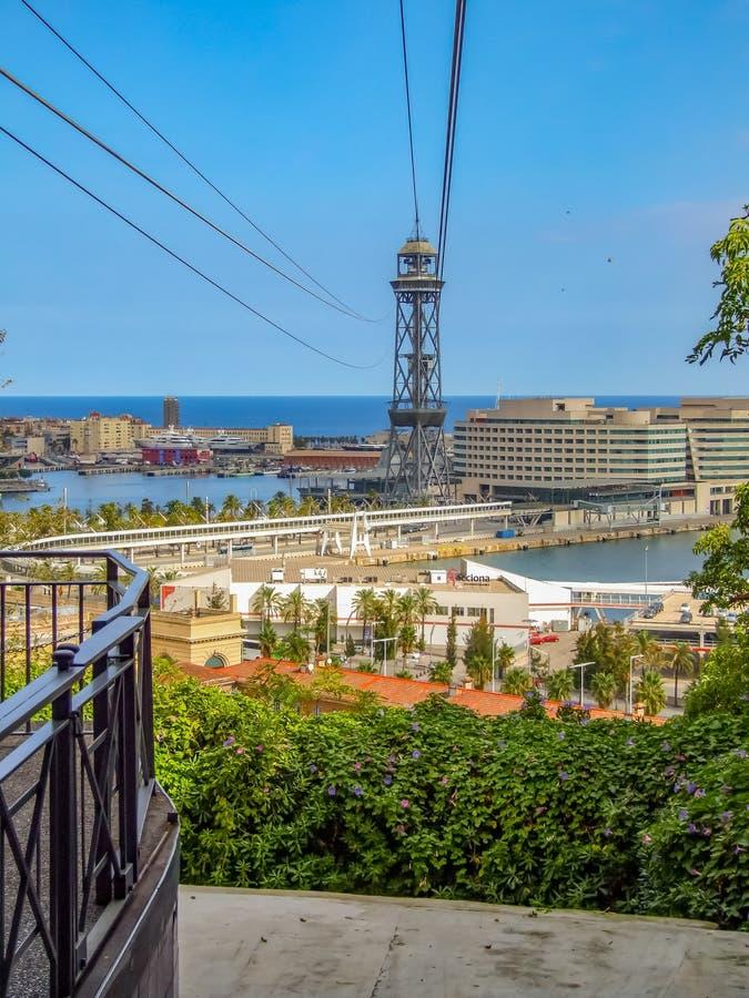 Widok na mieście Barcelona od Montjuïc wzgórza zdjęcie stock