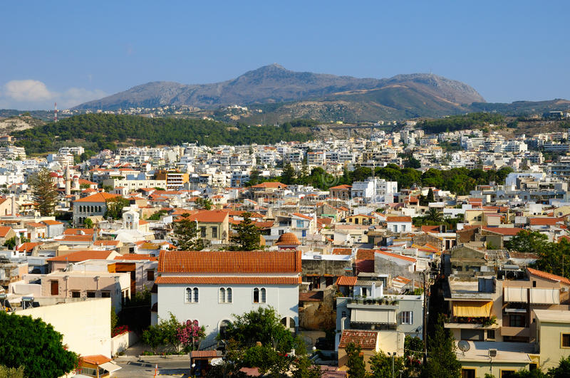 Widok na mieście Rethymno zdjęcia royalty free