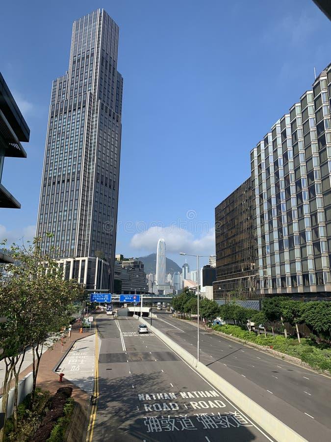 Widok na Nathan Road w Hongkongu zdjęcie royalty free
