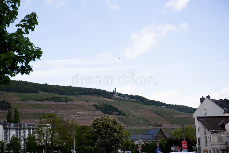 Widok na naturalnym krajobrazie obok Rhine w bingen jest główny w Hessen Germany obraz stock