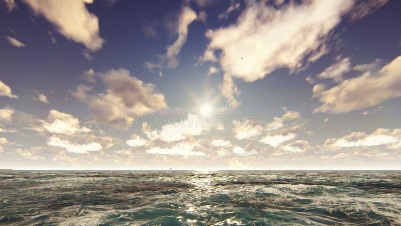 Widok na ocean na ładnym słonecznym dniu Morze wakacje, natura, kurort świadczenia 3 d fotografia stock