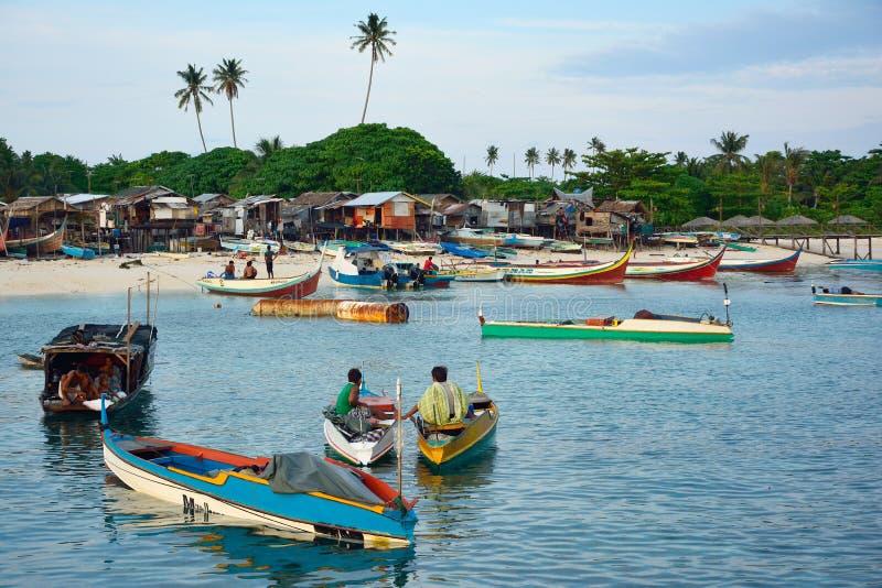 Widok na ocean denna gypsy wioska na drewnianych stilts fotografia stock