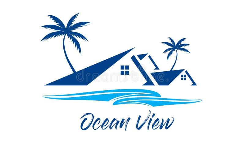 Widok Na Ocean, miejscowość nadmorska logo fotografia stock
