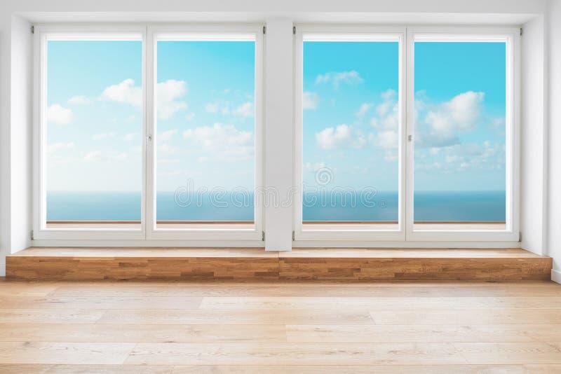 Widok na ocean panorama przez okno w nowożytnym mieszkanie pokoju - zdjęcia stock