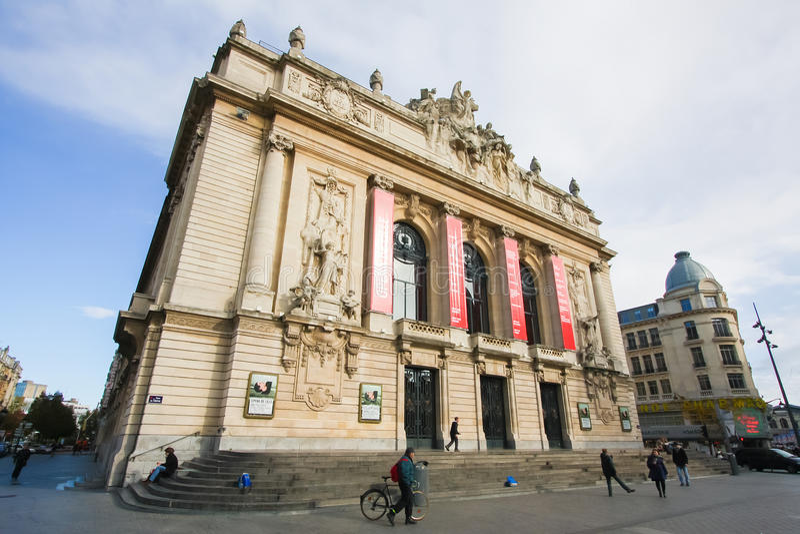 Widok na opera budynku w centrum Lille, Francja obrazy royalty free