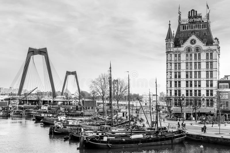 Widok na Oude przystani, Rotterdam holandie obrazy royalty free