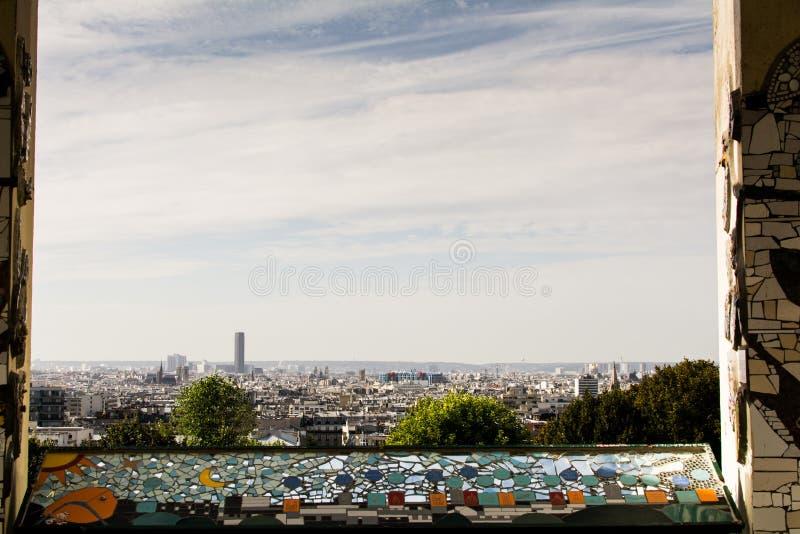 Widok na Paryż od belvédère De Belleville punktu widzenia obraz royalty free