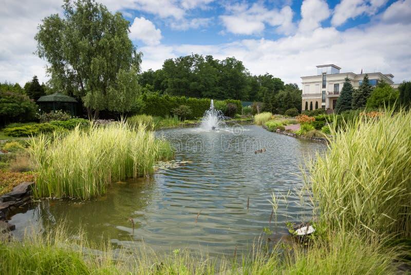 Widok na pięknej fontannie przy stawem w ogródzie obrazy stock