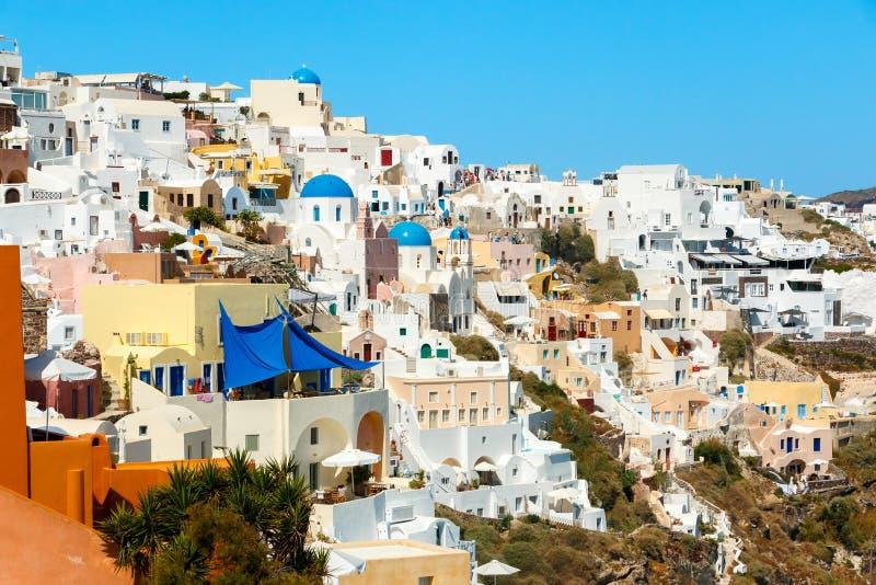 Widok na południowej części Oia miasteczko, Santorini zdjęcia royalty free