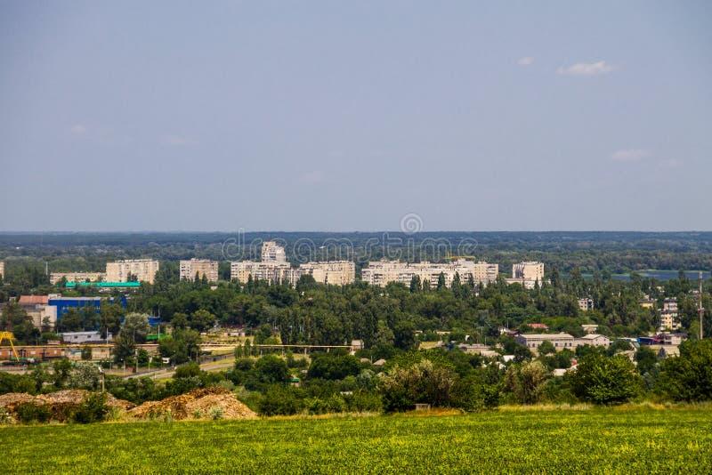Widok na przemysłowym okręgu w Kremenchug mieście zdjęcia royalty free