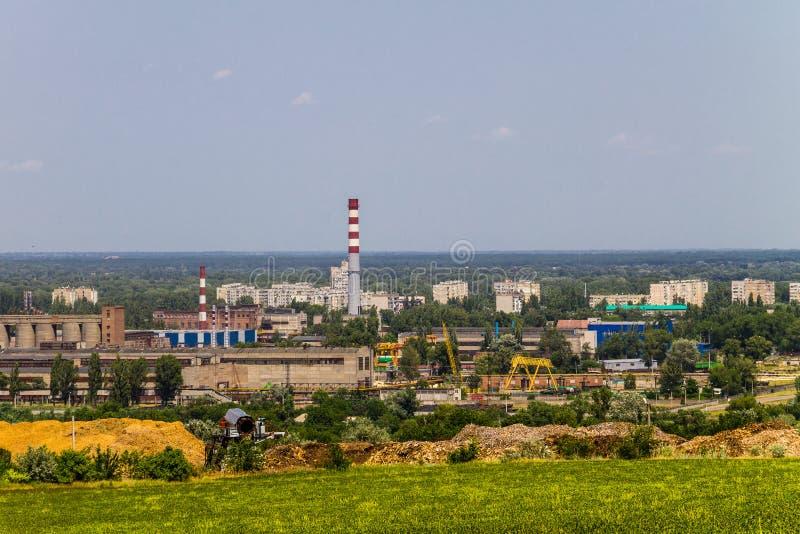 Widok na przemysłowym okręgu w Kremenchug mieście obraz royalty free