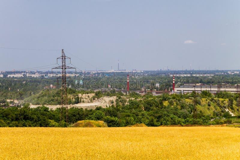 Widok na przemysłowym okręgu w Kremenchug mieście, Ukraina obrazy royalty free
