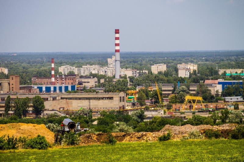 Widok na przemysłowym okręgu w Kremenchug mieście, Ukraina obraz stock
