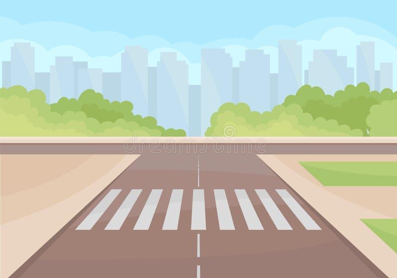 Widok na ruchu drogowego skrzyżowaniu z crosswalk Zieleni krzaki i wieżowowie na tle Płaski wektorowy projekt ilustracja wektor