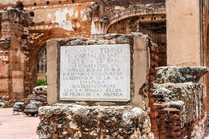 Widok na ruinach szpital St Nicolas Bari, Santo Domingo, republika dominikańska Zakończenie obraz stock