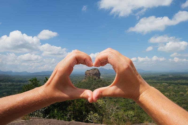 Widok na Sigiriya skały lwa skale zdjęcia stock