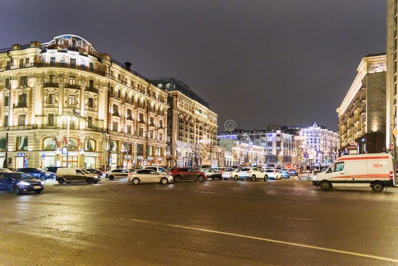 Widok na Tverskaya ulicie przy nocą w Moskwa Rosja zdjęcie royalty free