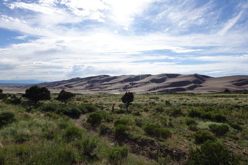Widok na Wielkich piasek diunach Kolorado zdjęcia royalty free