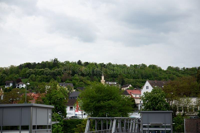 Widok na wzgórzu i Rhine w bingen jesteśmy główni od dachu w Hessen Germany zdjęcie stock