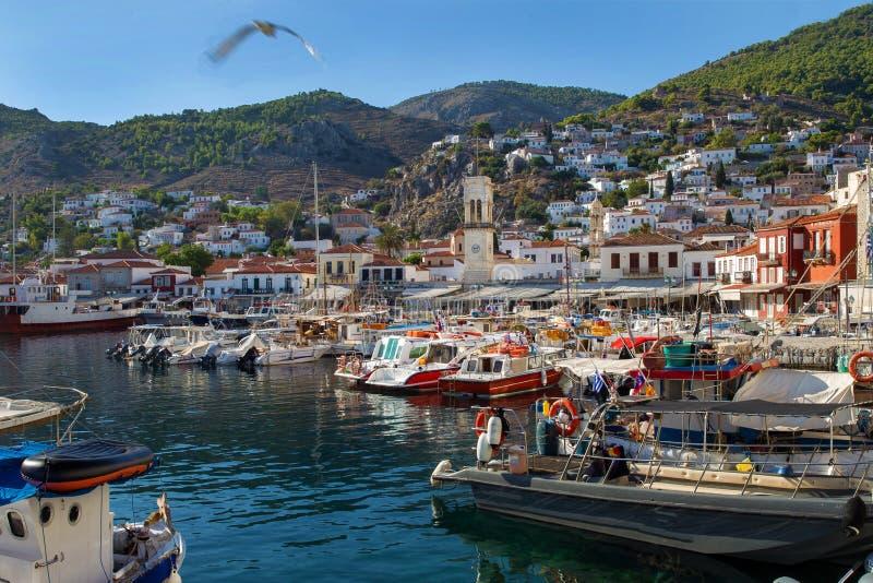 Widok na zatoki, schronienia i miasteczka hydrze, zdjęcia royalty free