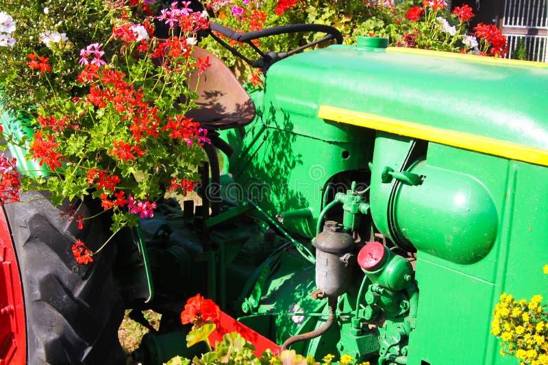 Widok na zielonym rocznika ciągniku z czerwieni kołami dekorował z kwiatami zdjęcia stock