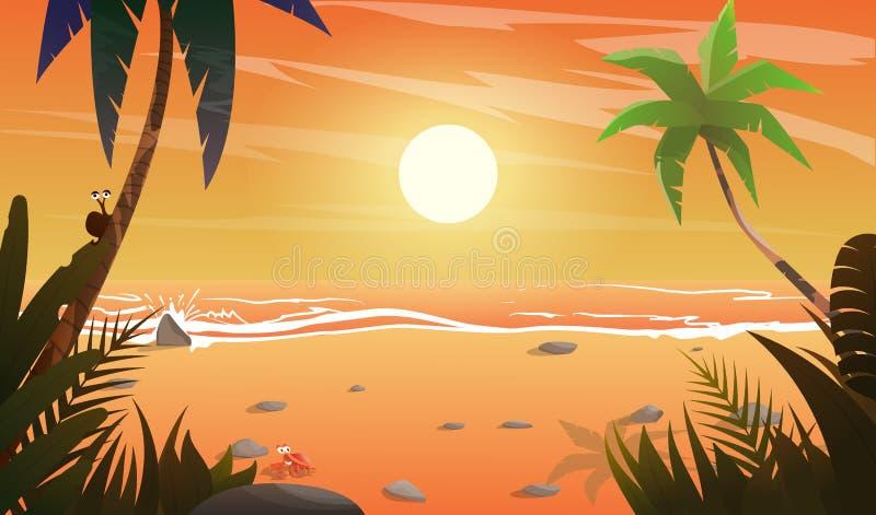 Widok na zmierzchu przy plażą ilustracji