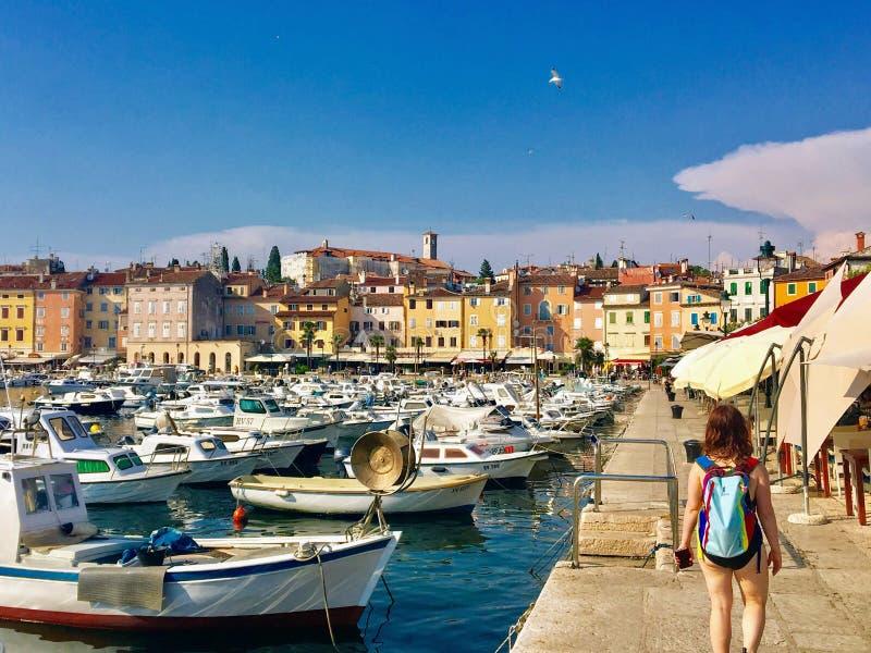 Widok nabrzeże Rovinj, Chorwacja pełno colourful stare łodzie i budynki dokował w zatoce obraz stock