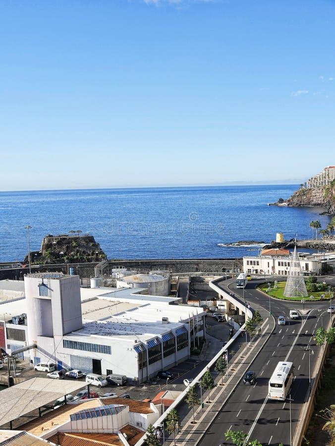 Widok nabrzeże w Funchal na wyspie madera w Atlantyckim oceanie fotografia stock