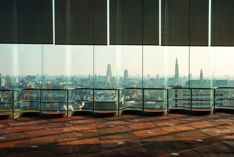 Widok nad Antwerp od Musem aan dera Stroom zdjęcia stock