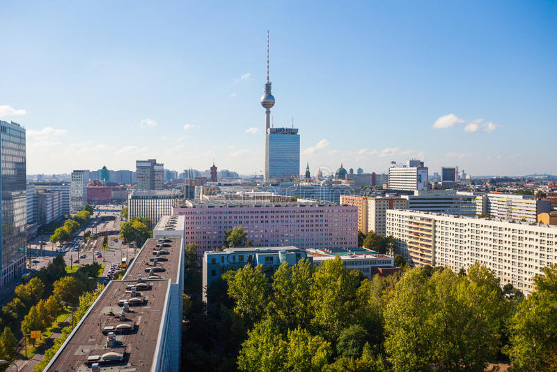 Widok nad Berlińskim Alexanderplatz zdjęcie stock
