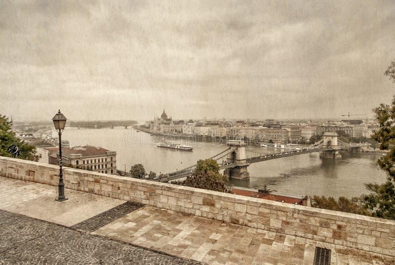 Widok nad Danube rzeką w Budapest obraz stock