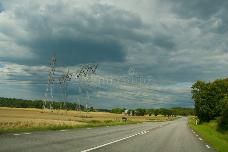 Widok nad drogą na zachodnim wybrzeżu, Szwecja fotografia stock