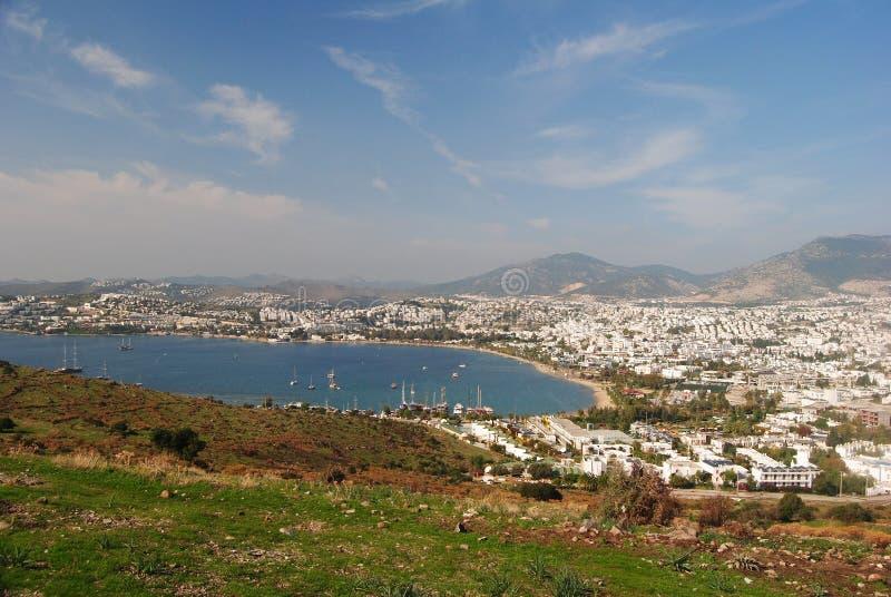 Widok nad Gumbet miejscowością wypoczynkową w Turcja obraz stock