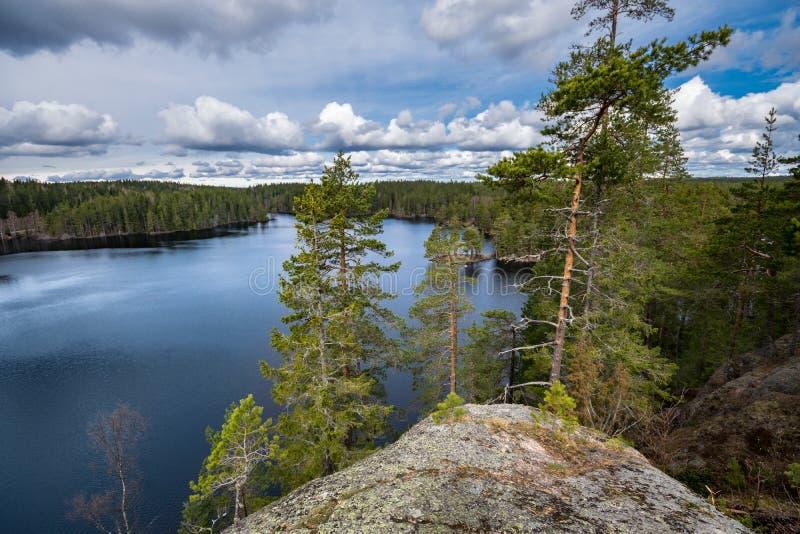 Widok nad jeziorem od skały z sosnami w pierwszoplanowym i chmurnym niebie nad horyzont, fotografia stock