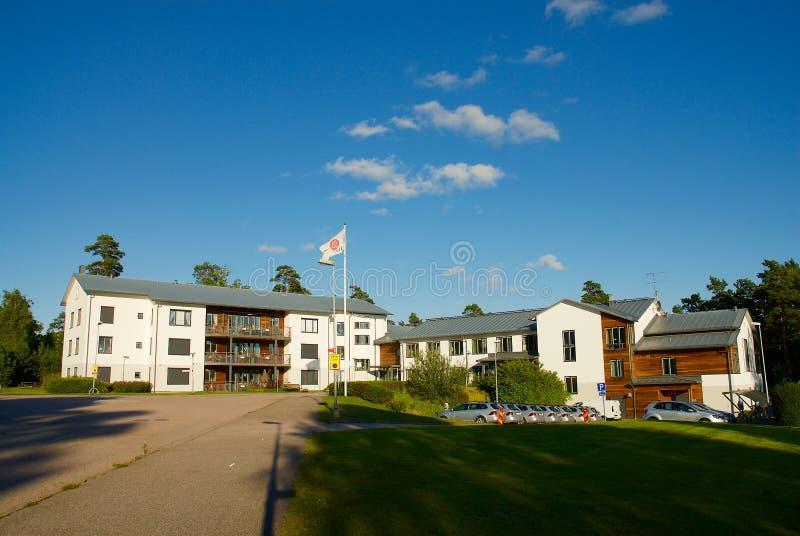 Widok nad lokalowym terenem w Lerum, Szwecja zdjęcia stock