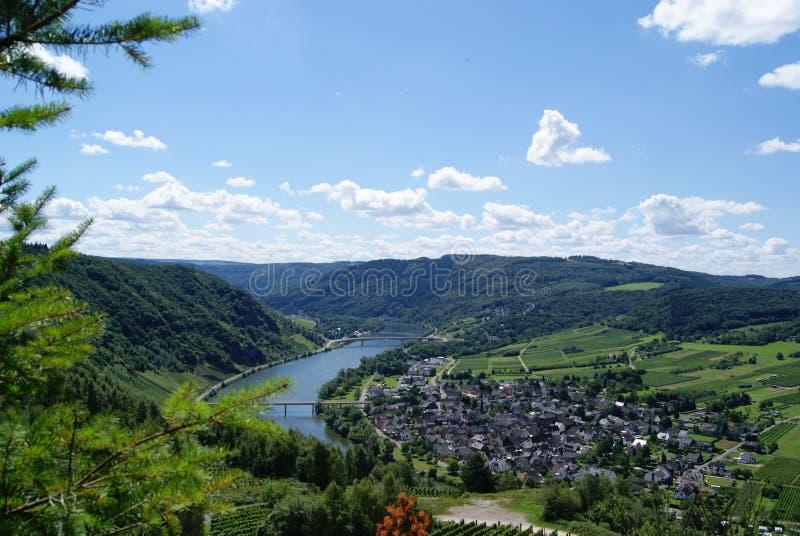 Widok nad Moselle Moezel Mussel doliną zdjęcia stock
