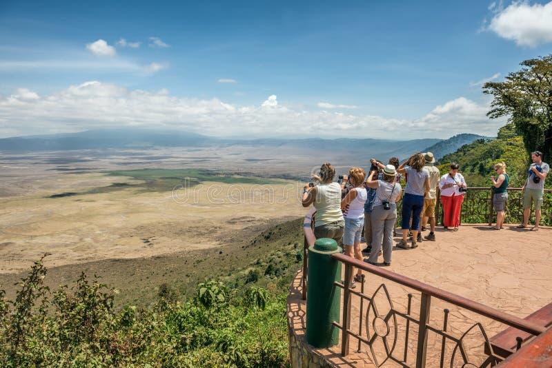 Widok nad Ngorongoro konserwaci terenem obraz stock