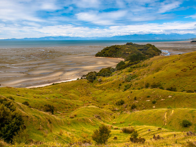 Widok nad obszarem trawiastym przy Puponga zatoką, Południowa wyspa, Nowa Zelandia zdjęcia royalty free