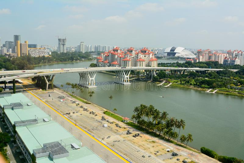 Widok nad Singapur w kierunku Krajowego stadium zdjęcia royalty free