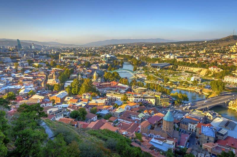 Widok nad Tbilisi linią horyzontu, Gruzja zdjęcie stock