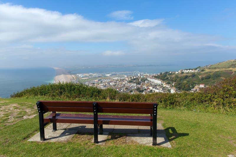 Widok nad Weymouth Portland i Chesil plażowy Dorset Anglia UK zdjęcia royalty free