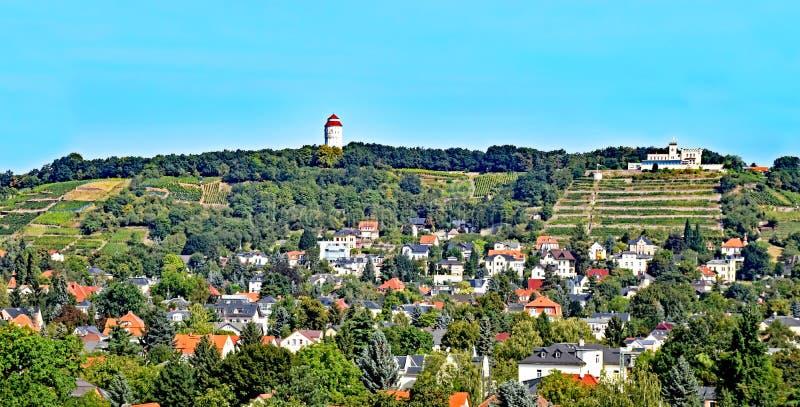 Widok nad wioską Altkötzschenbroda w Saxony, Niemcy fotografia stock