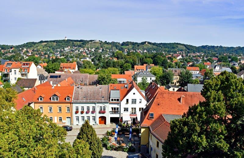 Widok nad wioską Altkötzschenbroda w Saxony, Niemcy zdjęcia royalty free