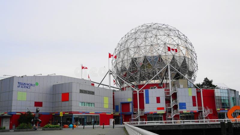 Widok nauka świat przy TELUS światem nauka budynek w Vancouver, Kanada zamknięty w górę Błonie nauki imię świat zdjęcie royalty free