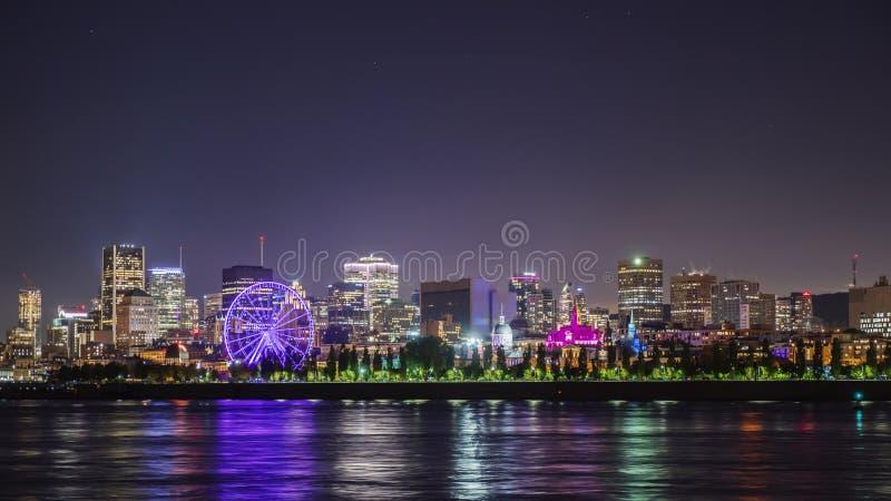 Widok nocy miasto Montreal w prowincji Quebec, Kanada zdjęcia royalty free