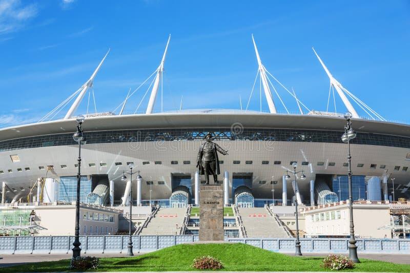 Widok nowa futbolowa Petersburg stadium ander budowa (Krestovsky) zdjęcia stock