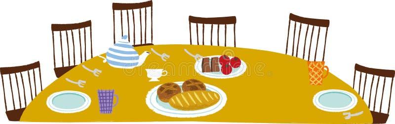 Widok obiadowy stół ilustracji