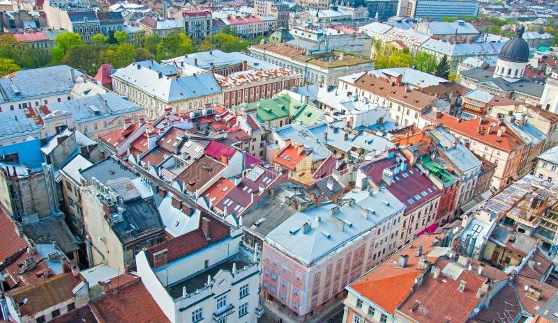 Widok obszar zamieszkały z domami i ulicami od above obraz royalty free