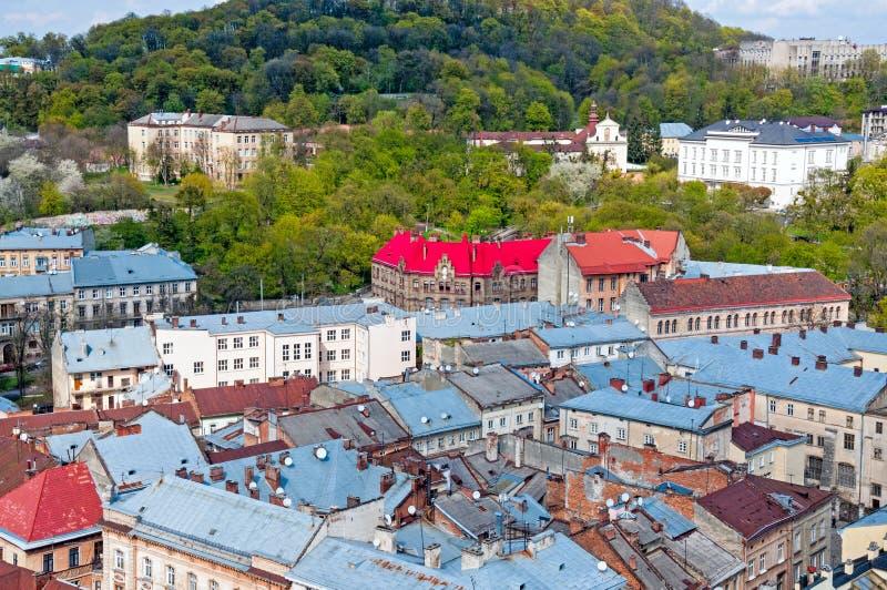 Widok obszar zamieszkały z domami i ulicami od above fotografia royalty free